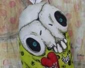 Ehag Original Handmade Skeleton Halloween Ornament Creepy Cute Folk Art Doll Skull Ornie