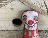 Creepy and Cute Broach Lapel Pin Whimsical Original Art Clown Vintage Carnival Circus Primitive Hat Fun Stuffed OoAK