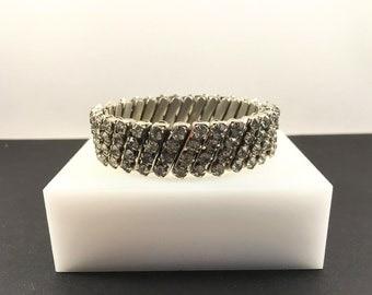 Rhinestone Expansion Bracelet, Vintage Jewelry, Stretch Bracelet, Vintage Bracelet, Silver Tone Adjustable Bracelet, Special Occasion