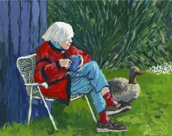 "Art PRINT of my original acrylic painting,""Cup of Coffee on a New Spring Day"", Portrait of my Mom,Nature, Outdoor, by Patty Fleckenstein"