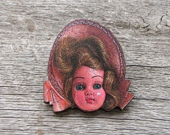 pink girl creepy doll head pin . doll head brooch pin . retro ugly doll tie tack . wooden jewelry