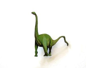 dinosaur tie tack . green brontosaurus tie pin . dinosaur pin brooch . apatosaurus pin badge