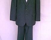 1980s Ralph Lauren Polo University Mans Suit Charcoal Gray Wool Pin Stripe 44R