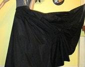 80s Long Black Gothic Nylon Skirt.  Black Nylon Maxi Skirt.  Nylon Skirt with Back Drawstring Ruffle !  WOW!