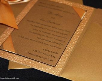 Antique Gold Pocketfold w. Gold Embossed Pebble Wedding Invite Suite