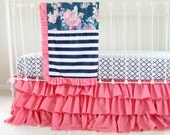Hot Pink and Navy Baby Girl Bedding, custom crib bedding,  navy floral baby bedding, Navy stripe kate spade inspired nursery by lottiedababy