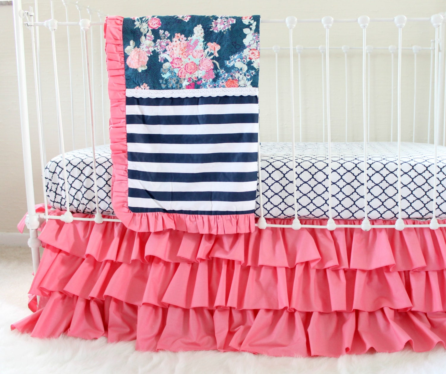 hot pink and navy baby girl bedding custom crib bedding. Black Bedroom Furniture Sets. Home Design Ideas