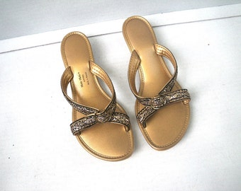 1970s Holo Holo of Hawaii Slippers Sandals Size 6 Gold & Black