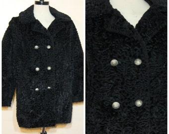 60s Black Fur Coat Medium Curly Lamb Peacoat Medium Large Mid Century Retro