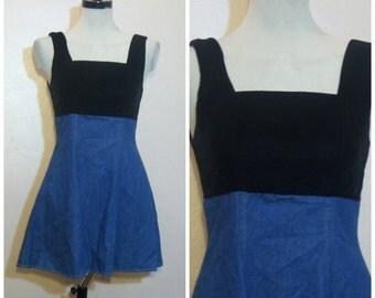 90s Velvet Denim Dress Small Skater Dress 90s Grunge Minimalist Jumper