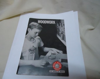Vintage 1972 Woodwork Merit Badge Book Boy Scouts of America, collectable