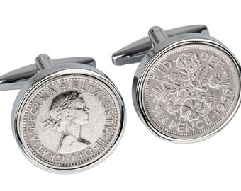 51st Birthday - Lucky 1966 English sixpence Cufflinks - Genuine coins from England - 100% satisfaction