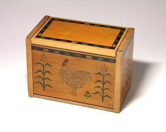 Vintage Rooster Recipe Card Box by Warren Kimbell - circa 1990's