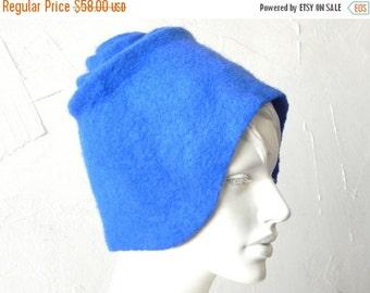 Christmas in July Blue wool hat - felt wool hat - felted blue hat - merino wool hat - woman hat - blue color hat - royal blue hat - winter f
