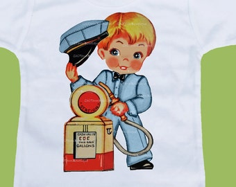 Vintage Gas Station Man, One Piece, Baby Bodysuit, Baby Boys Clothes, Baby Shower Gift, Boys T-Shirts, by ChiTownBoutique.etsy
