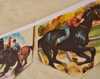 FURY Banner horse banner Vintage Little Golden Book storybook Bunting Children australia children birthday party decoration pony