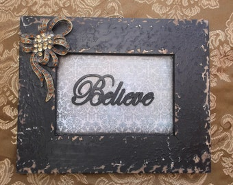 Black shabby Believe assemblage, repurposed, Wall hanging
