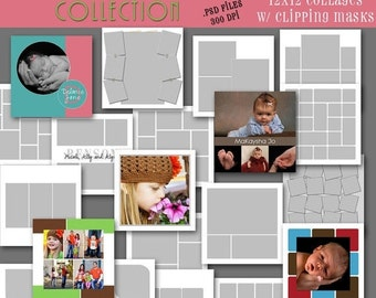 SALE INSTANT Download -  12x12 Storyboard COLLECTION - 20 Custom Photo Templates for Photographers