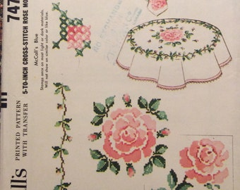 Vintage Embroidery Transfers Rose Motif Cross Stitch Tablecloths Pillows 1964 Unused