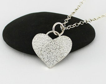 Handcrafted Sterling Silver Small Heart Pendant Sterling Silver Chain Silverdust Texture Contemporary Artisan Jewelry Design 019955792316