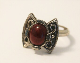 Vintage Celtic style ring. Red ring