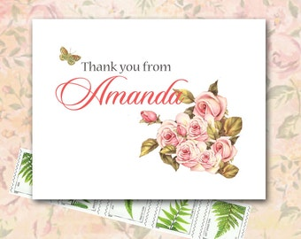 Shabby Chic Thank You Note Card, Antique Faded Roses, Pink Peach and Green, Custom Personalized Thank You