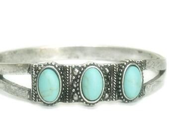 Turquoise Bangle Bracelet - Turquoise Jewelry - Southwest Style Bracelet - Boho, Bohemian - Retro - Vintage - Cowgirl - Chunky - Cuff