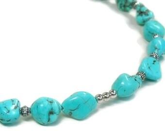 Turquoise Jewelry, Turquoise Nugget Choker, Turquoise Necklace, Pendant Holder, Charm Holder, Gemstone, Necklace Set, Southwest, Flexible