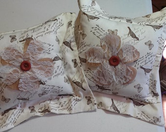 Set of Accent Pillows Shabby Chic Bird Pillows Country French Nursey Pillows