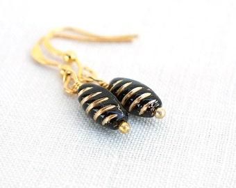 Summer Outdoors Geometric Black Earrings Black Bead Earrings Black Glass Earrings Black Dangle Earrings Gold Earrings Black Drop Earrings