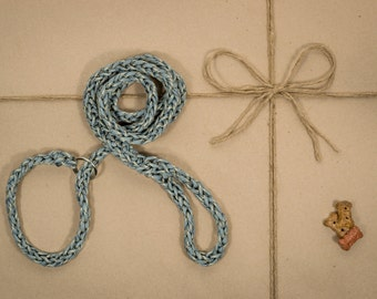 Dog Leash and Collar Combo, paracord, blue and yellow