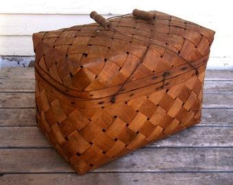 Split Wood Picnic Basket - Very Old