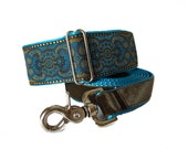 Turquoise Martingale Collar and Matching Leash, 2 Inch Martingale Collar, Jacquard Martingale Collar, Turquoise Dog Collar, Greyhound Collar
