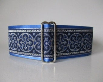 2 Inch Martingale Collar, Blue Martingale Collar, Jacquard Martingale Dog Collar, Blue Dog Collar, Greyhound Collar, Whippet Collar