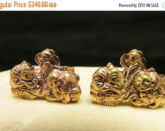 On Sale Vintage Estate Japanese Menuki with Gold Overly on 14K Gold Cufflink Mounts