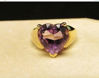 On Sale Vintage Estate 10K Heart Shaped Amethyst  Ring