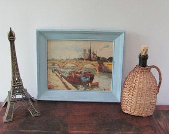 Vintage Paris Print, Blue Framed Notre Dame Print