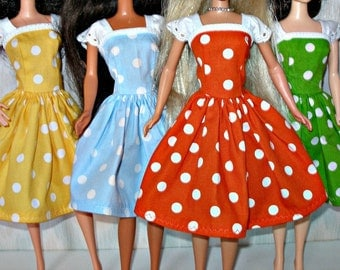 Handmade Barbie clothes -  polka dot dress w/ eyelet- choose your color