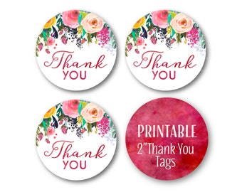 Pink Thank You Tags, Thank You Favor Circles, Birthday Thank you, Glitter and Floral Thank You Tags, Printable Stickers - 1502