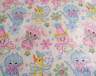 Vintage Gift Wrap-Wrapping Paper-Birthday-Children-Shower-Baby-Animals-Pastels-Retro-Mid Century-1 yard-Kittens-Bunnies