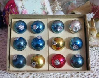 Vintage Tiny Feather Tree Glass Ornaments-Original Box-14mm-Shiny Brite-Dozen-Multi-Glitter End