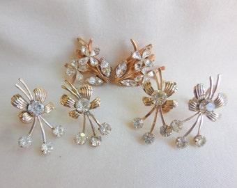 Lot of 3 Vintage Goldtone and RHINESTONE FLOWER Earrings