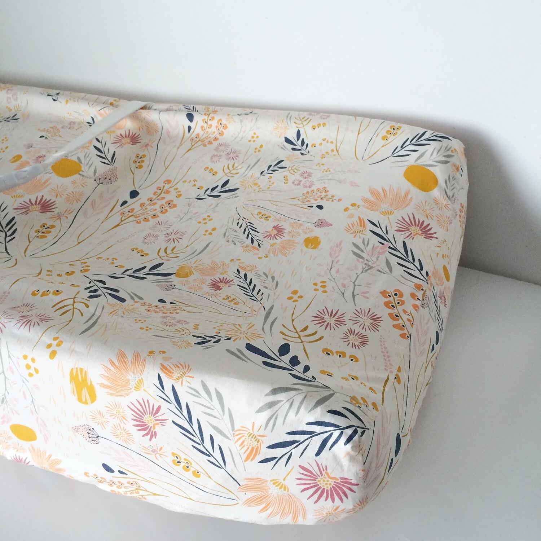 Girls Crib Bedding Peach Gold Grey Blue Boho Changing Pad