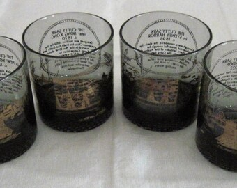 4 Vintage Smoke Cutty Sark Design Whiskey Rock Glasses 4 Ships & Years In Gold Graphics