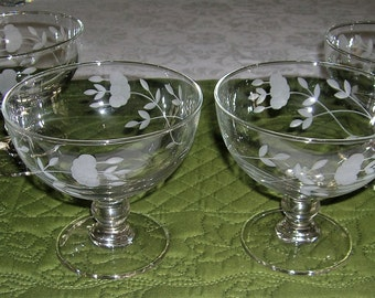 4 Princess House Heritage Pattern Crystal Glass Floral Gray Cut Footed Dessert Bowls #6219