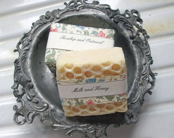 Handmade Soaps with Antique Pewter Dish