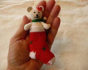 amigurumi  Christmas bear in sock approx.4 inches