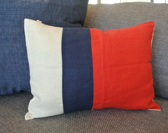 SALE!! Linen Color Block Pillow Cover/ Red, Navy & Ivory Stripe/ Patriotic/ Fourth of July