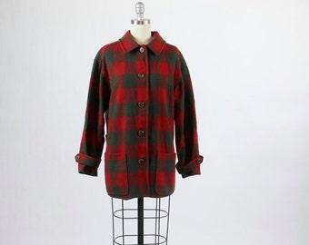 Vintage Pendleton / Pendleton Coat / Pendleton Jacket Knockabout / 1940s 1950s Style Pendleton 49er / Plaid Coat Jacket Red Green Wool