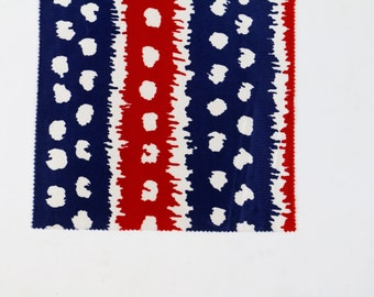 Vintage Fabric / 1960s Fabric / 1970s Fabric / Fabric Sample / Mod Dress Fabric Op Art Print 60s Fabric 70s Deadstock Red Blue White